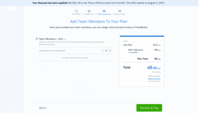 Freshbooks Coupon - Add Team Member