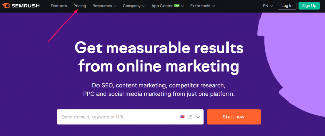 SEMrush Free Trial - Visit The Pricing Page