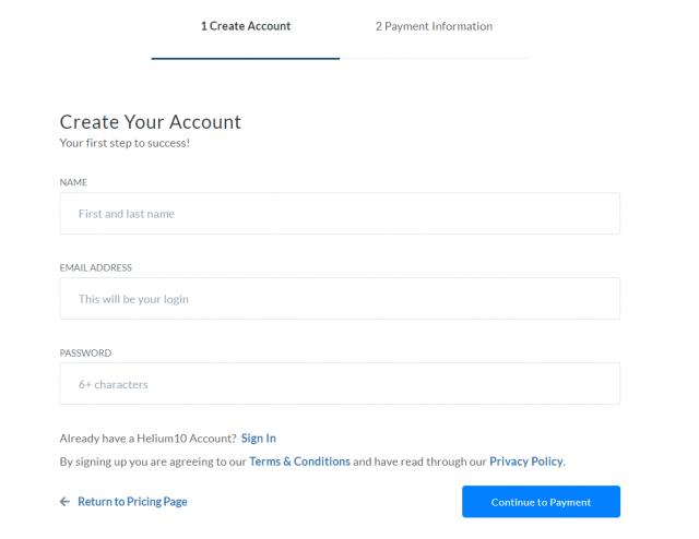 Helium 10 - Create Account