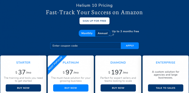 Helium 10 Coupon - Pricing