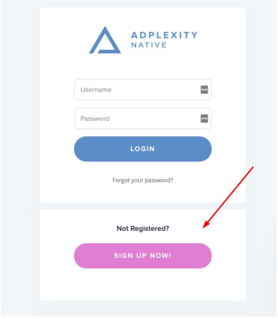 AdPlexity Native Sign Up